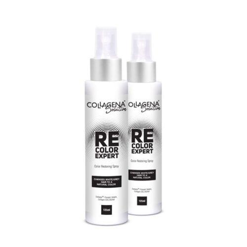 2 броя REcolor EXPERT спрей за възвръщане естествения цвят на побелелите коси COLLAGENA Solution